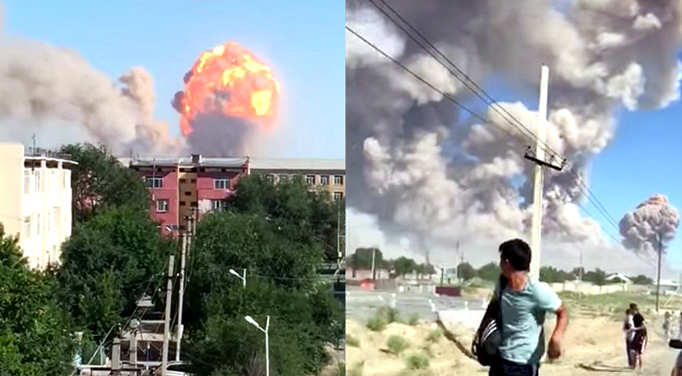 Two killed, 165 injured in massive explosion at military depot in Kazakhstan